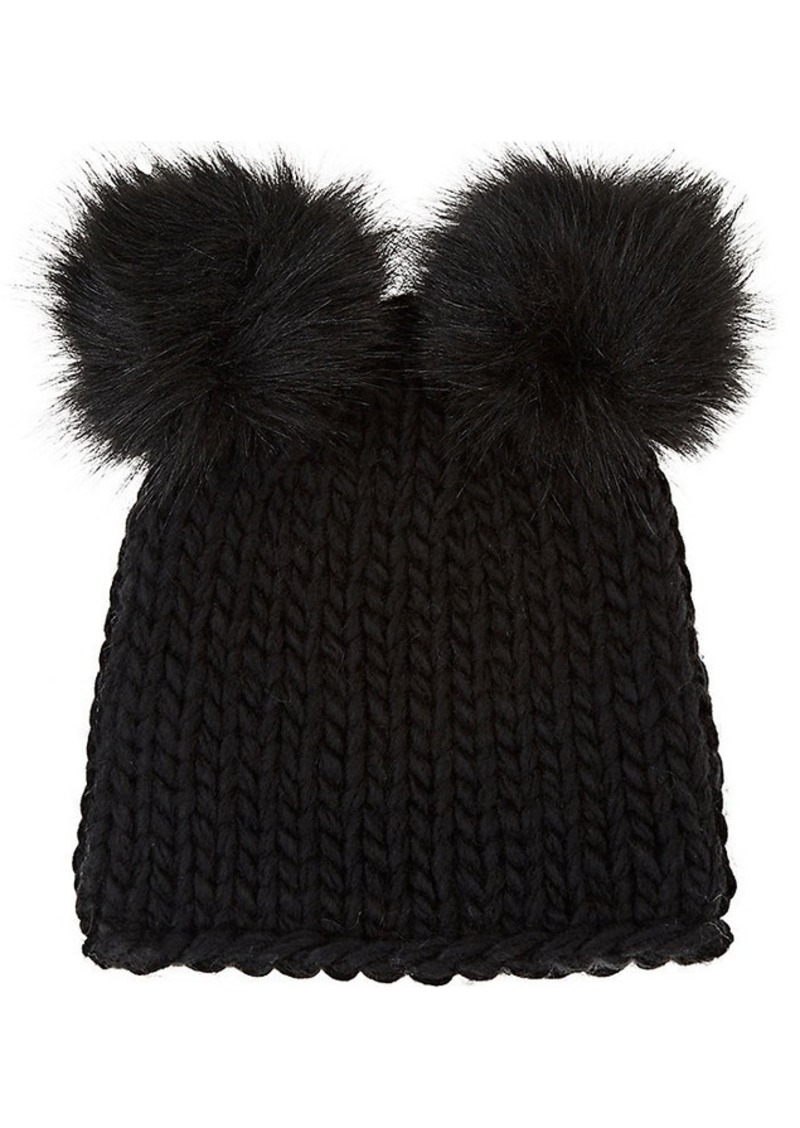 3b6cdb574 Women's Wool-Blend Double Pom-Pom Hat - Black