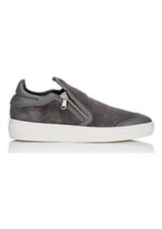 Barneys New York Women's Zip-Detail Suede Slip-On Sneakers