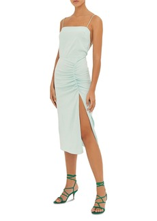 ba&sh Cybile Ruched Open Back Midi Dress