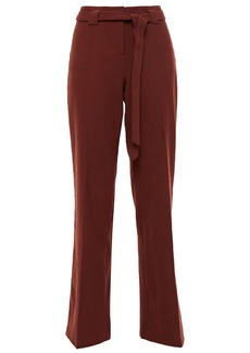 Ba&sh Woman Batik Belted Brushed-twill Straight-leg Pants Burgundy