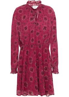 Ba&sh Woman Gize Shirred Floral-print Crepon Mini Dress Plum