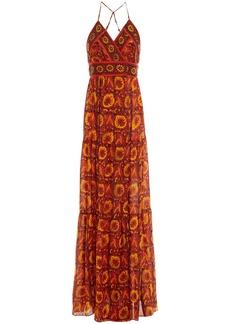 Ba&sh Woman Kemi Open-back Printed Silk-voile Maxi Dress Papaya