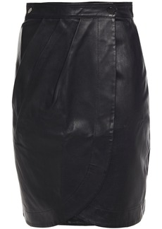 Ba&sh Woman Leana Leather Mini Wrap Skirt Black