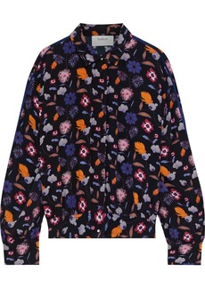 Ba&sh Woman Mars Gathered Printed Crepe Shirt Black