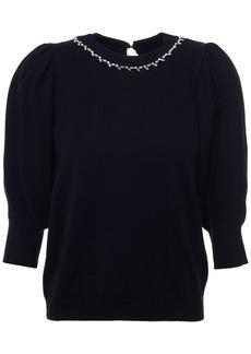 Ba&sh Woman Nea Embellished Cotton Silk And Cashmere-blend Sweater Black