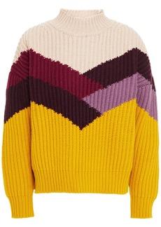 Ba&sh Woman Orlando Color-block Ribbed Wool-blend Sweater Saffron