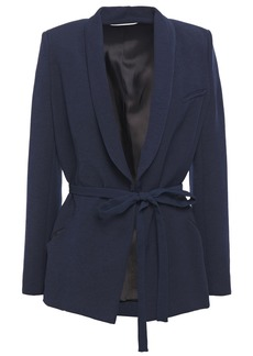 Ba&sh Woman Padova Belted Crepe Jacket Navy