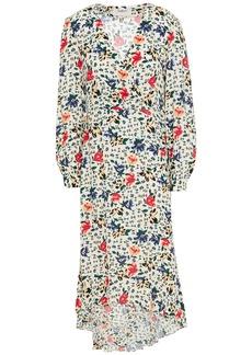 Ba&sh Woman Paloma Wrap-effect Floral-print Crepe Dress Ecru