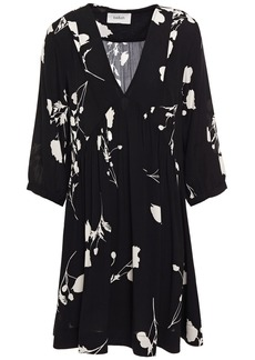 Ba&sh Woman Pansy Gathered Floral-print Crepe Mini Dress Black