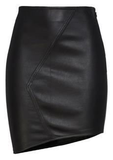 Ba&sh Woman Party Asymmetric Leather Mini Skirt Black