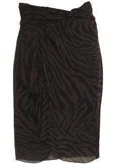 Ba&sh Woman Scarlette Wrap-effect Ruched Zebra-print Georgette Skirt Dark Brown