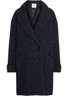 Ba&sh Woman Sixty Double-breasted Brushed-bouclé Coat Midnight Blue