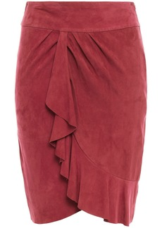 Ba&sh Woman Susette Wrap-effect Ruffled Suede Skirt Antique Rose