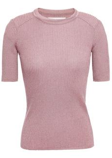 Ba&sh Woman Zoe Metallic Ribbed-knit Top Antique Rose