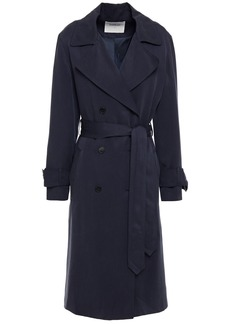 Ba&sh Woman Double-breasted Twill Trench Coat Navy