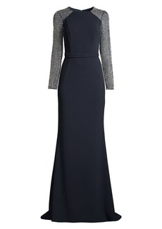 Basix Black Label Beaded Long-Sleeve Gown