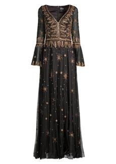 Basix Black Label Embellished Bell-Sleeve Gown