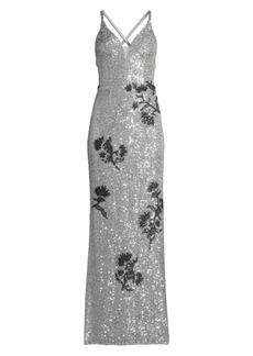 Basix Black Label Floral Sequin Column Gown