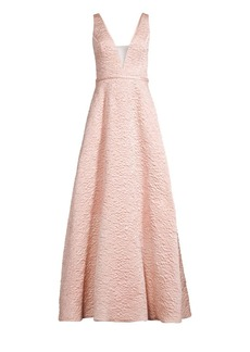 Basix Black Label Foil V-Neck A-Line Gown