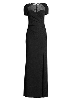 Basix Black Label Glitter Beaded Illusion Neckline Gown