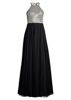 Basix Black Label Halter Crystal Bodice Gown