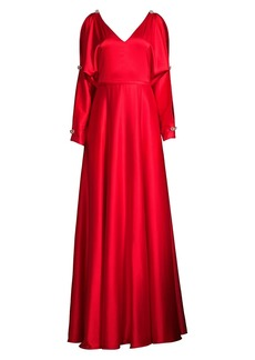 Basix Black Label Long-Sleeve V-Neck Gown