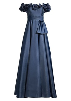 Basix Black Label Off-the-Shoulder Flower Mikado A-Line Gown