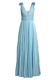Basix Black Label Pleated Metallic A-line Gown