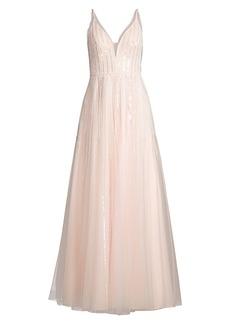 Basix Black Label V-Neck Crystal Bodice Gown
