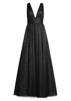 Basix Black Label V-Neck Sparkle Gown