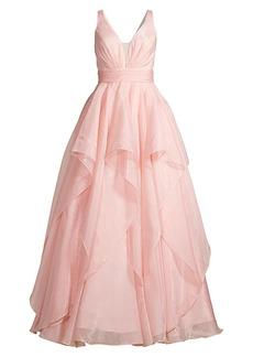 Basix Black Label V-Neck Tiered Full-Skirt Gown