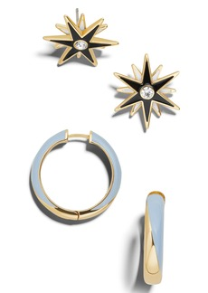 BaubleBar 2-Pack Aiden Starburst Studs & Hoop Earrings