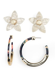 BaubleBar 2-Pack Flower Studs & Tassiana Hoop Earrings