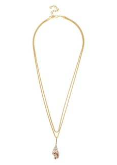 "BAUBLEBAR Anthia Layered Shell Pendant Necklace, 27"" & 27.25"""
