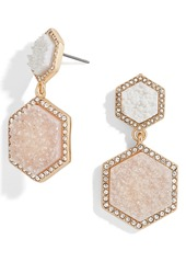 BaubleBar Ashaya Hexagon Drusy Drop Earrings