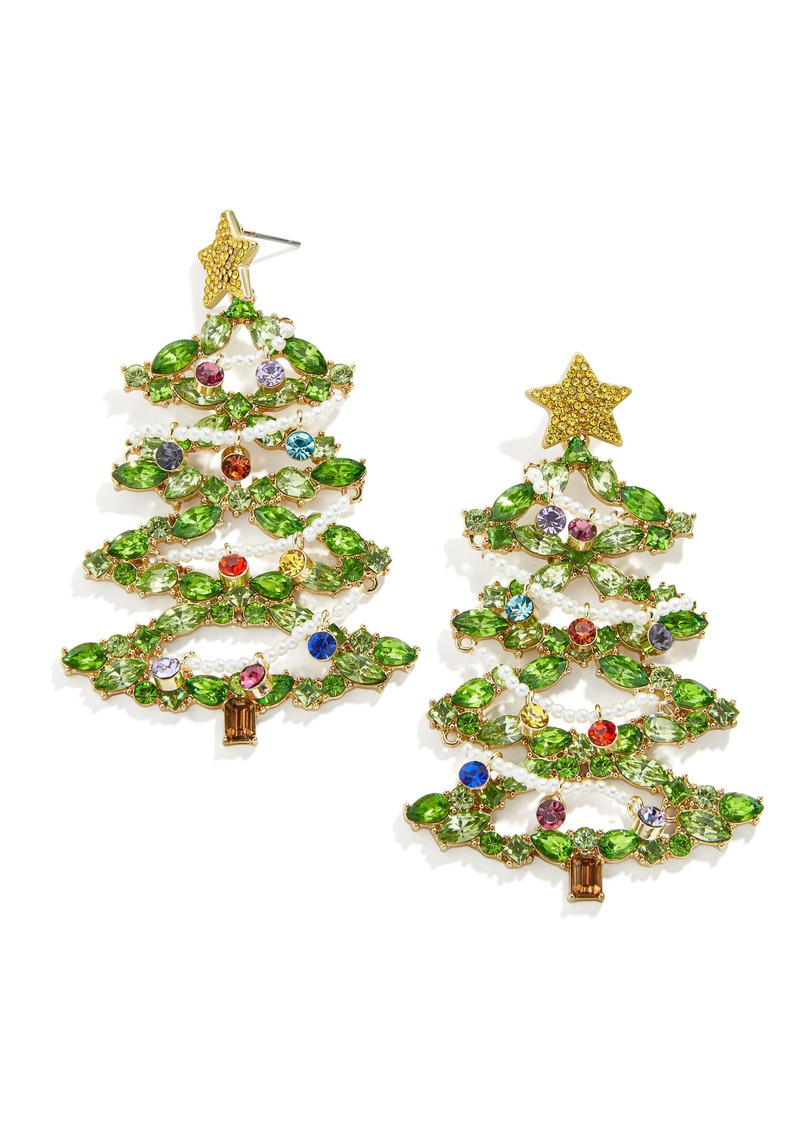 BaubleBar Christmas Tree Deck the Halls Drop Earrings
