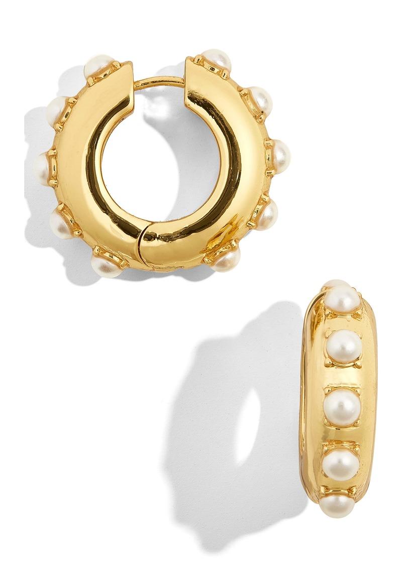 BaubleBar Claire Imitation Pearl Huggie Earrings