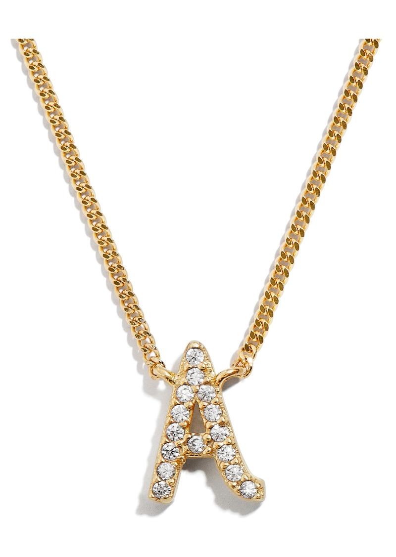 BaubleBar Crystal Graffiti Initial Pendant Necklace