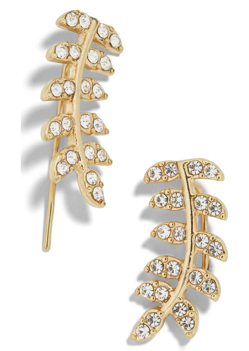 BaubleBar Vaniya Crystal Leaf Drop Earrings