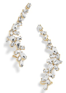BaubleBar Crystal Leaf Ear Crawlers