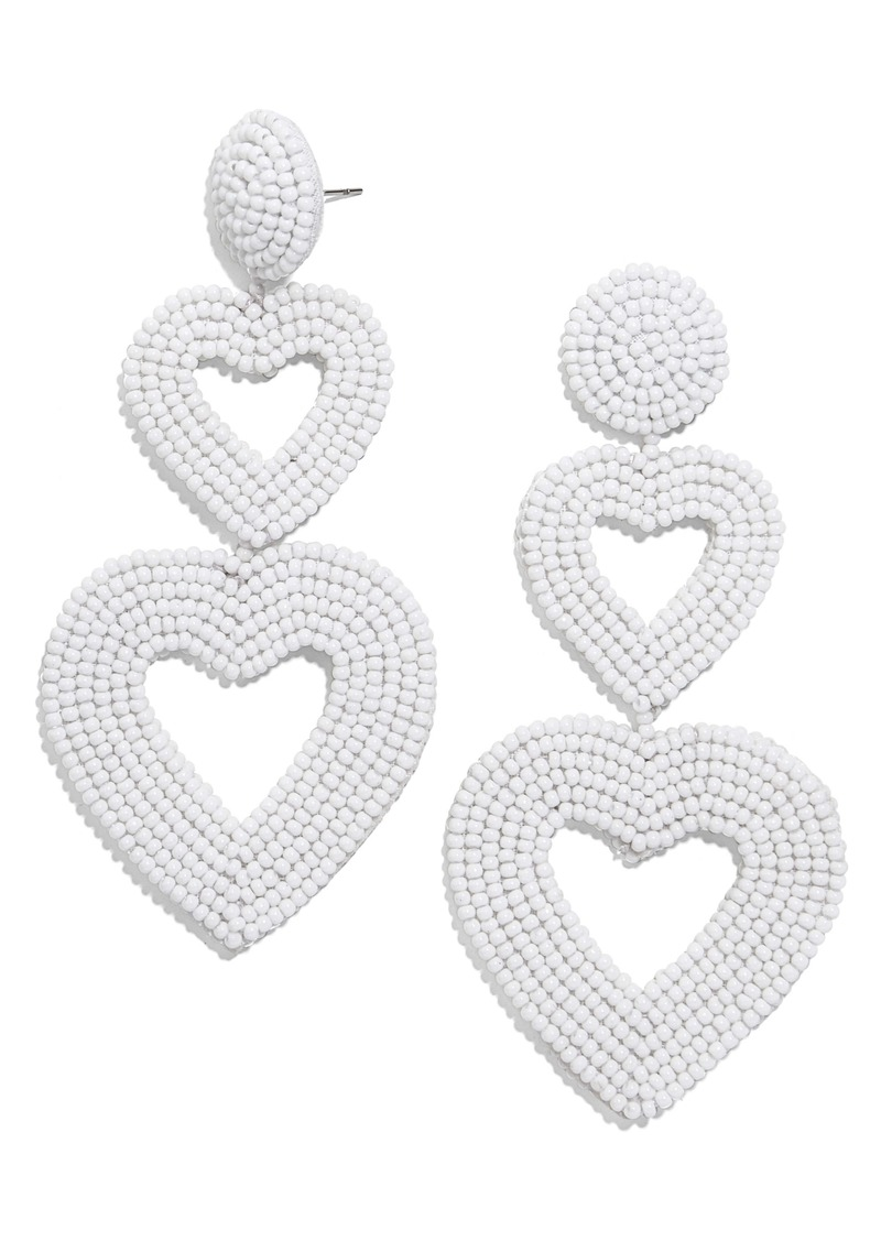 BaubleBar Double Heart Beaded Drop Earrings