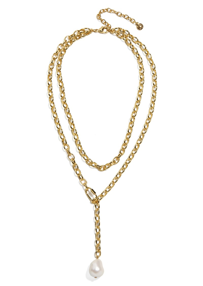 BaubleBar Double Layer Imitation Pearl Y-Necklace
