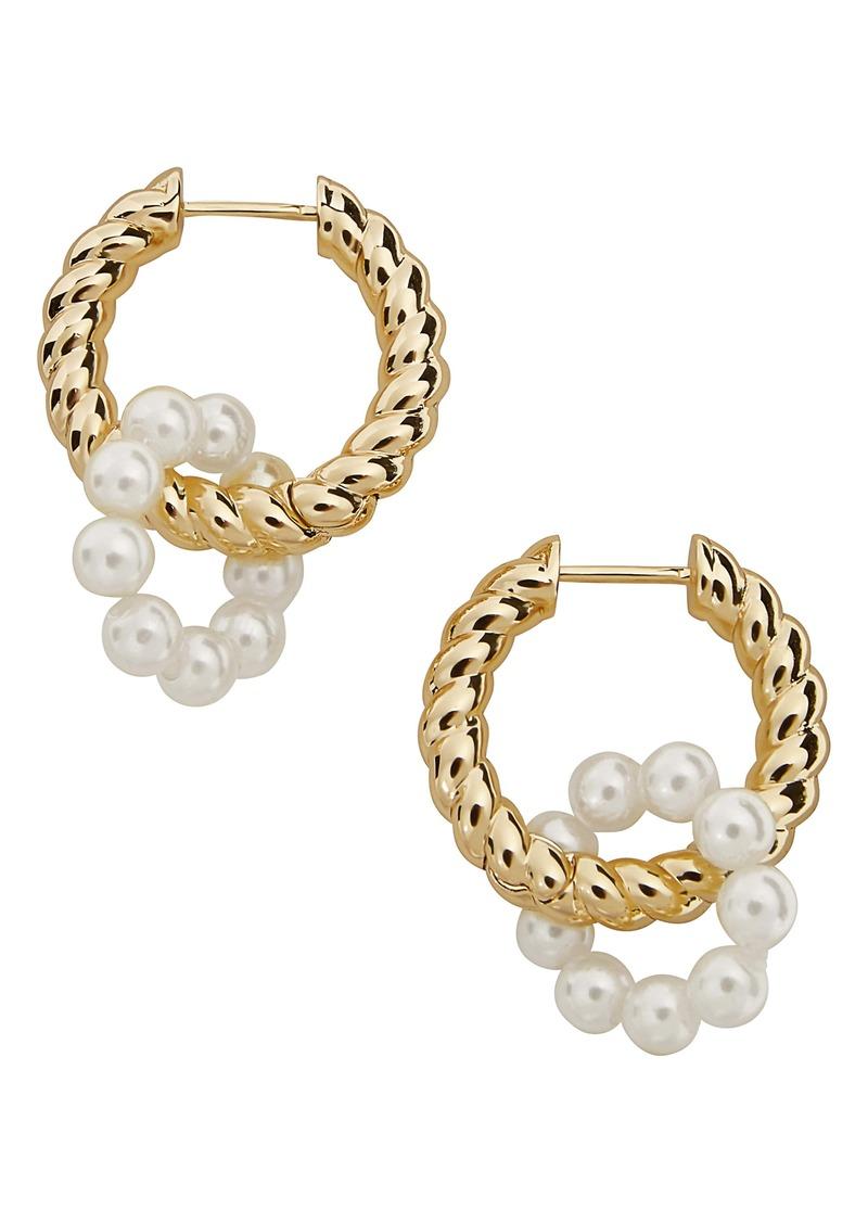 BaubleBar Imitation Pearl Huggie Hoop Earrings
