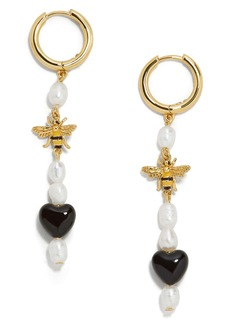 BaubleBar Keshi Pearl & Bee Drop Earrings