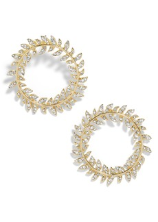 BaubleBar Leaf Round Hoop Earrings