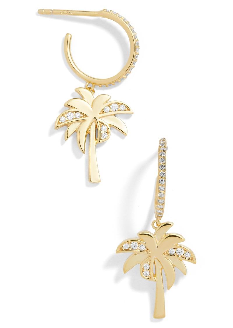 Palm Tree Huggie Hoop Earrings