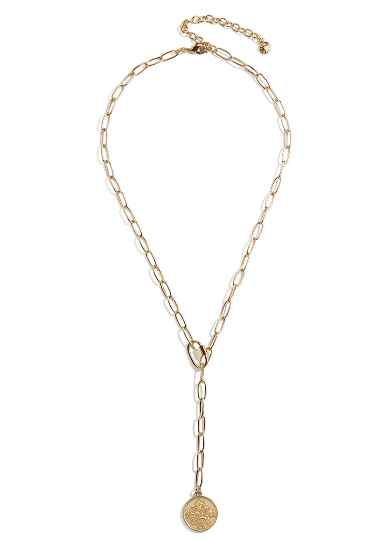 BaubleBar Paper Clip Y-Necklace with Coin Pendant