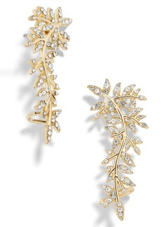 BaubleBar Pavé Leaf Ear Crawlers