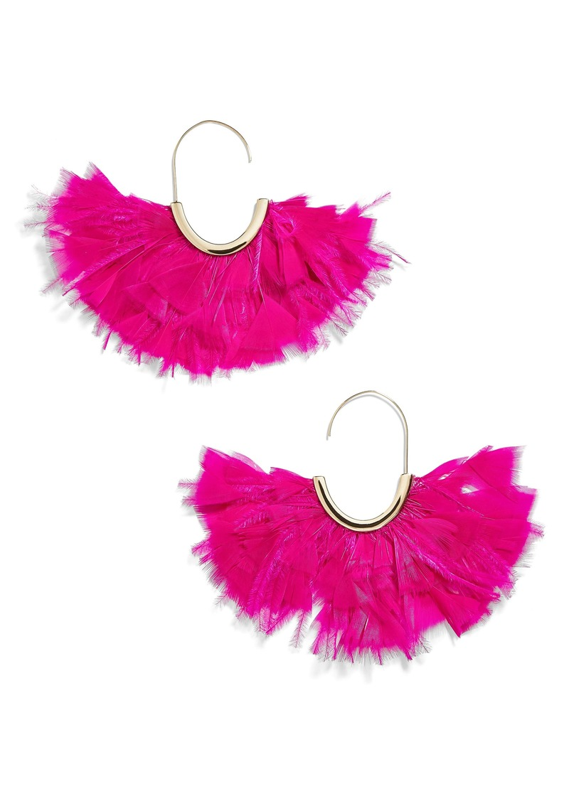 BaubleBar Saffine Feather Tassel Hoop Earrings