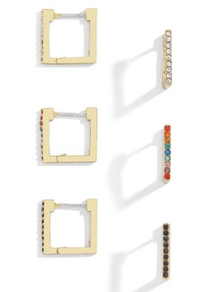 BaubleBar Set of 3 Square Huggie Hoop Earrings